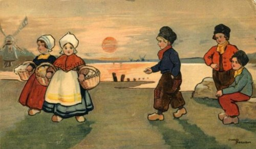 Dutch Boy Approaching Dutch Girls