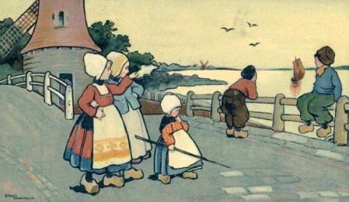 Dutch Children At The Windmill
