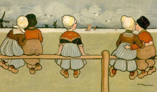 Dutch Children On Fence