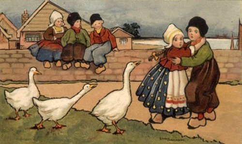 Dutch Children With Goose