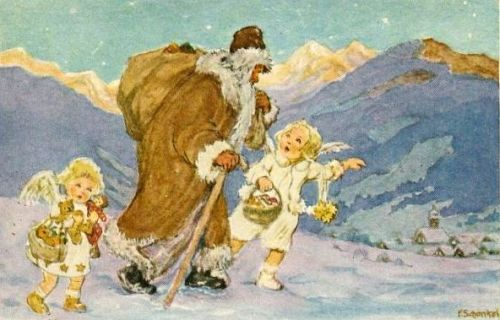Father Christmas Guided By Little Angels