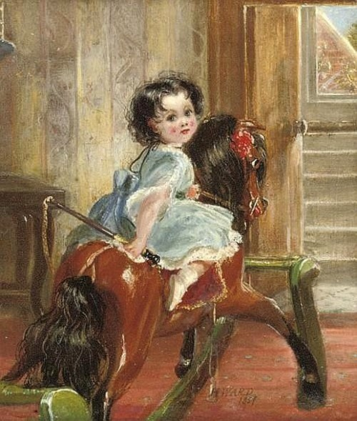 Flora Emma Sarah Ward On A Rocking Horse
