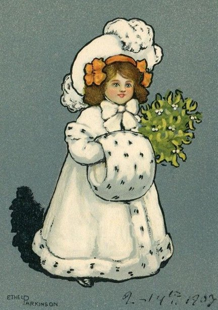 Girl With Mistletoe And Muff