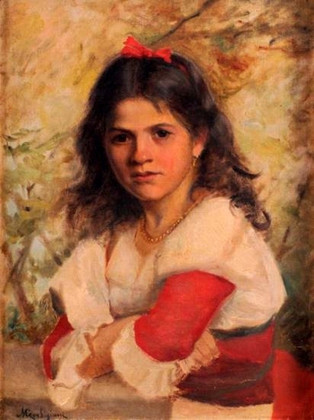 Girl With Red Bow In Her Hair