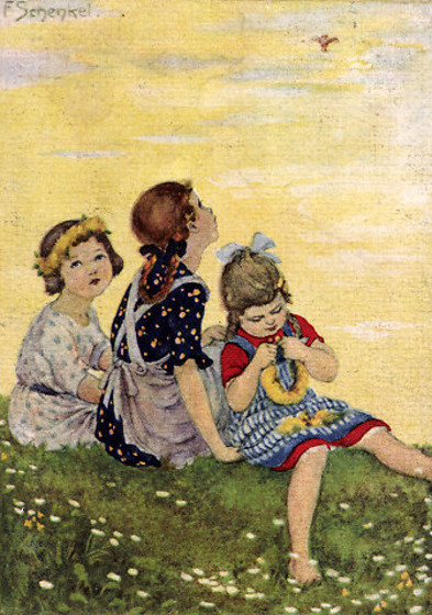Three Girls Sitting In A Meadow