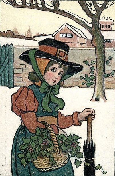 Victorian Girl With Basket Of Holly