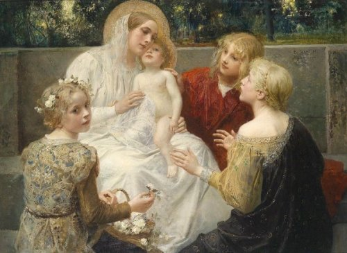 Madonna With Jesus Surrounded By Children