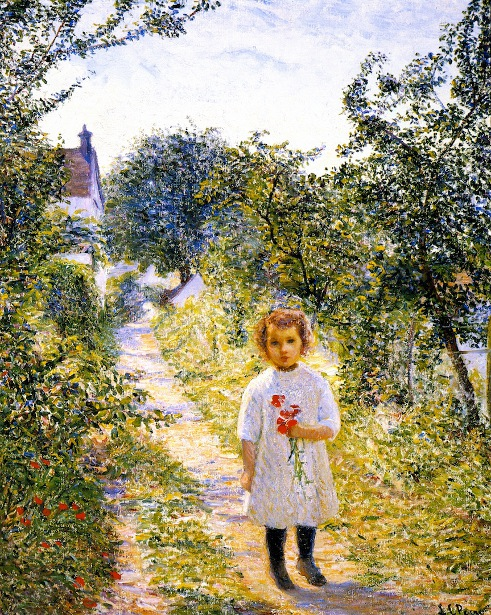 Child With Poppies - Little Girl In A Lane, Giverny