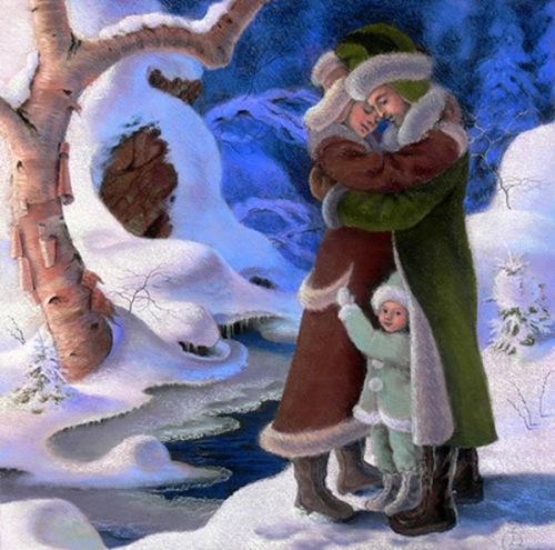 L'hiver contemplant une famille