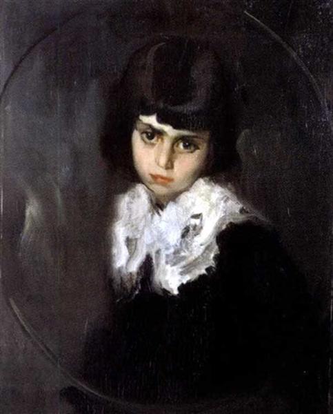 Bambina col colletto bianco