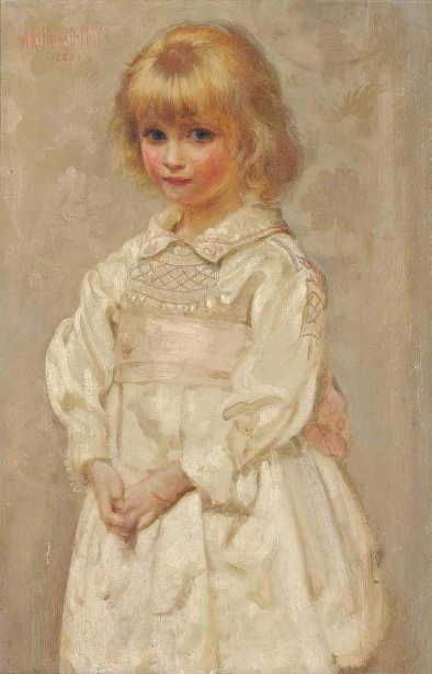 Young Girl In A Pink And White Smock Dress