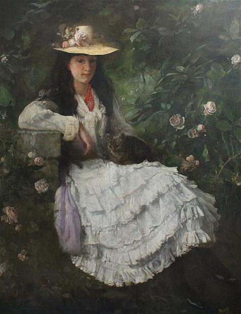 Young Girl Seated With A Cat In The Garden