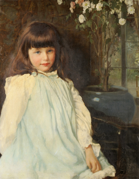 Young Girl Wearing A Cream Blouse And Blue Apron